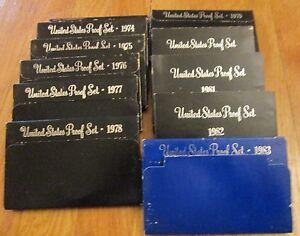 1973 1974 1975 1976 1977 1978 1979 1980 1981 1982 1983 11 Proof Sets U.S. Mint