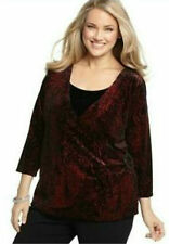 NWT $49 Elementz Women's Black w/Red Sparkle 3/4 Sleeve Velour Blouse Size: XL