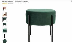 Safavieh Lisbon Modern Glam Round Ottoman, Malachite Green OTT6202A
