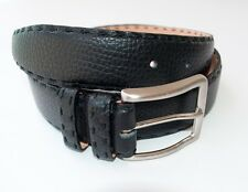 New Kiton Napoli Black Handstitched Leather Belt 40 42 Made in Italy NO RESERVE!