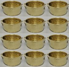 "Planter Container Brass Round Embossed Handles 4.25""Dia 2""High Set/12"