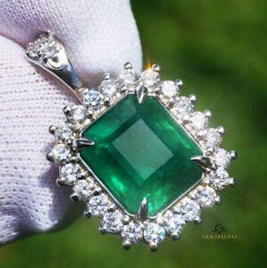 Emerald Pendant  Gold 14K Diamond GIA Certified Natural 5.56CTW RETAIL $13,200