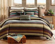ARIZONA SKY ** King ** COVERLET SET : SOUTHWEST RANCH LODGE BROWN STRIPE QUILT