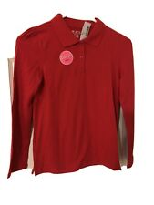 The Children's Place Girls Red Long Sleeve Polo Shirt, Size 10/12, Nwt