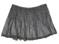 HANLEY MELLON Women's Black & White Striped Chiffon Pleated Skirt $495 NEW