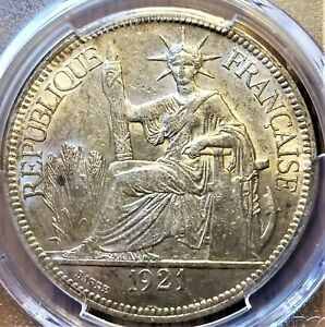 1921-H French Indo-China Piastre Silver Coin - PCGS AU58