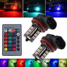 2Pcs 12V 27SMD 5050 Multi-Color RGB LED Fog Lights Driving Bulbs Remote H8/H11