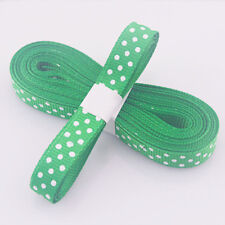 "5yds 3/8""(10MM) Green Christmas Ribbon Printed lovely dots Grosgrain Ribbon!"