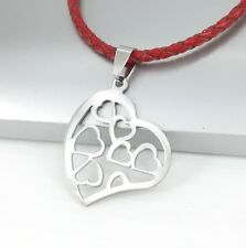 Silver Retro Love Heart Symbol Pendant 3mm Braided Red Leather Choker Necklace