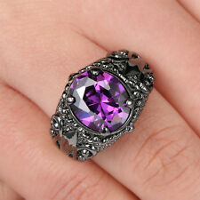 SZ 8 Jewelry Mens Amethyst 10K Black Gold Filled Fashion Engagement flower Ring