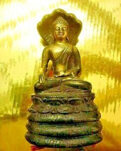 ENLIGHTENMENT BUDDHA holding Gold CHINTAMANI JEWEL STATUE,A TEMPLE NAGA DRAGON