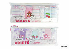 7 Pack Girls Briefs 100% Cotton Pattern Knickers Pants Age 2-3, 3-4, 5-6 7-8