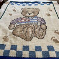 "Vintage Biederlack Teddy Bear Blanket Throw 75"" X 56"" Paw Prints Flag Germany #2"