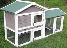 GREY RABBIT HUTCH GUINEA PIG HUTCHES RUN RUNS LARGE 2 TIER DOUBLE DECKER CAGE
