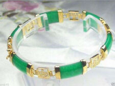 Pretty Natural Emerald Green Jade Yellow Gold Plated Fortune Link Clasp Bracelet