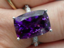 14k Moroccan Amethyst & Diamond White Gold Ring 7.73 WOW STUNNING ONE OF A KIND-