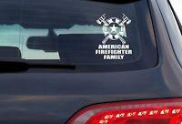 American Firefighter Family - 8 Inch White Vinyl Decal For Windows, Trucks, Cars