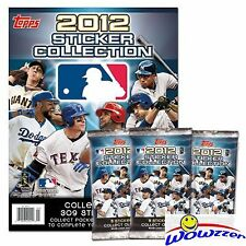 (12) 2012 Topps Baseball Stickers Factory Sealed Foil Packs+ALBUM! 102 Stickers!