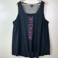 Torrid 4 Women's Plus 26 Black Embroidered Aztec Mesh Neck Rayon Tank Blouse