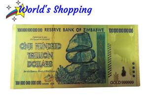 10x Lot $100 Trillion Zimbabwe Dollar Notes - 24 Carat Gold Leaf - UK Stock