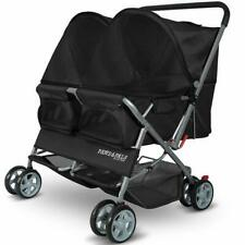 Paws & Pals Twin Double Folding Pet Stroller - Black