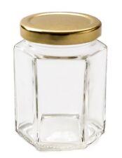 10 Nutley's 190ml hexagonal glass jam jar 8oz gold lids preserves chutney