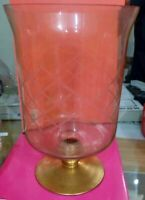 Vaso vetro soffiato trasparente rifilato e dipinto a mano dimensioni 26x13cm