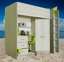 Calder High Sleeper Cabin Bed for Kids Desk Wardrobe Drawers in Loft Pine R227LP