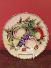 "Vintage Hand Painted Decorative Plate with Gold Trim 10 1/4"" Fruit Apples Grapes"