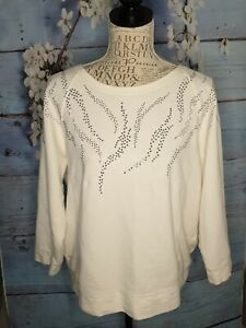 Chico's Women's Ladies Top Cream Sequins Size 2 Uk 14/16