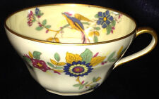 CHARLES AHRENFELDT CUP AHR45 EXOTIC BIRD PARADISE MULTISIDED GOLD TRIM FLOWERS