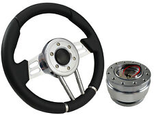 QUICK RELEASE BLACK V2 SPORTS STEERING WHEEL 310mm 6x70mm