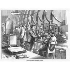 LONDON Central Telegraph Office Pneumatic Tubes - Antique Print 1874