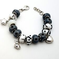 New Sterling Silver 925 Murano Glass Grey & White Charms Beads Bracelet 7.5 'in
