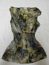 WOMEN'S BUCKLE JEANS DAYTRIP YELLOW/BLACK/GRAY LEOPARD TANK TOP SIZE SMALL CUTE!