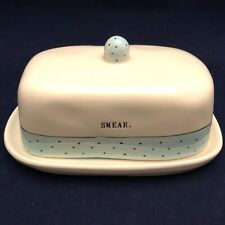 Rae Dunn Blue Polka Dot Typewriter Font SMEAR Butter Dish 2017 Dimples