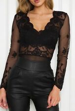 FOREVER HOT! NEW TIGERMIST BLACK LACE LONG SLEEVE LACE BODYSUIT TOP 6 8 10 12