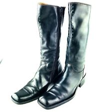 Kenneth Cole women's 6.5 tall leather boots 37 Born To Ride Black Moto Riding