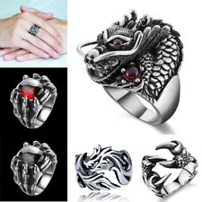 Retro Gothic Punk Men Rings Trendy Dragon Claw Rings Jewelry Halloween Accessory