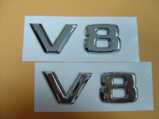 TWO PCS OF CHROME V8 EMBLEM BADGES MERCEDES BMW ASTON MARTIN AUDI R8 JAGUAR