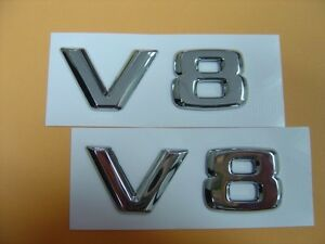 TWO PCS OF CHROME * V8 * EMBLEM BADGES MERCEDES BMW ASTON MARTIN AUDI R8 JAGUAR