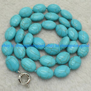 """Natural 13x18mm Blue Turquoise Oval Gemstone Beads Necklace 18"""" AAA"""