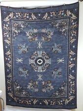 """Vintage Biederlack Throw Blanket Floral Flowers Reversible Gray Brown 57""""x74"""""""