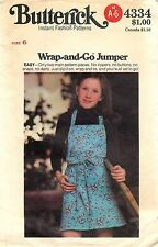 Vintage Butterick Sewing Pattern # 4334 Children Girls Wrap and Go Jumper Size 6