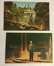 Two Vintage Disneyland Anaheim, California Postcards-Unused Lincoln And Rivers