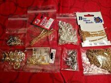 Lot of Jewelry Making / Beading: clasps, chain, earring hooks, eye pins.