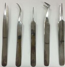 5 Platinum Foil Hold Swiss Style Forceps Micro Tweezers High Quality