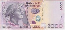 ALBANIA BANKNOTE P#74a  2000 2,000 2.000 LEKE 2007 UNCIRCULATED USA SELLER