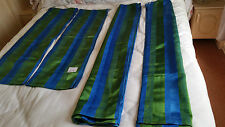 "Two Pairs Matching Blue & Green Striped Curtains 1 = 46""W X 41""D 2nd 68""W X 49""D"