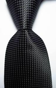 New Classic Checks Black White JACQUARD WOVEN 100% Silk Men's Tie Necktie